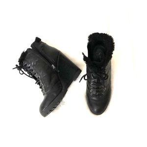 Black booties with fuzzy insides!